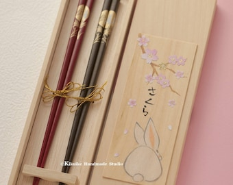 Handmade Japanese Chopsticks,handmade, hand painted wooden box ,Personalised Engraved Chopsticks/ Party Gifts/Wedding Favours,Wedding Gift