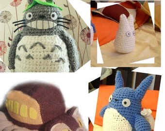 4 Amigurumi My Neighbor Totoro and Cat bus Crochet Pattern Set Toy Story