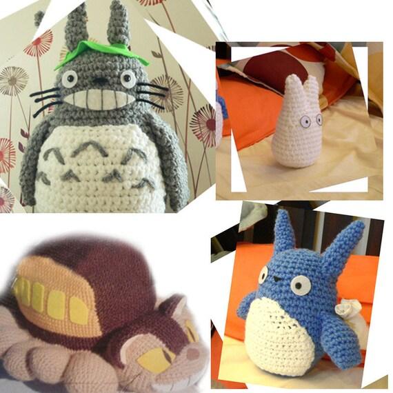 4 Amigurumi mi vecino Totoro y gato bus Crochet patrón