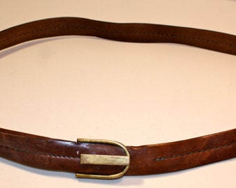Vintage thin leather brown belt brass buckle size L