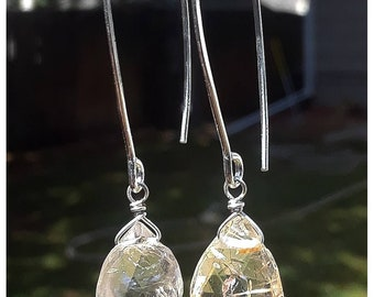 Golden Rutile Quartz on long earwires Sterling Silver Earrings.
