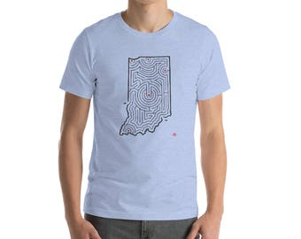 Adult Indiana Map Maze Short-Sleeve T-Shirt | Indianapolis / Fort Wayne / South Bend (Various Color Choices)