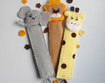 Jungle animals bookmark, Jungle bookmarks felt, Readers gift, Back to school gift, Giraffe bookmark, Elephant bookmark, Lion bookmark