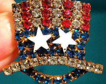 Uncle Sam Red White and Blue Rhinestone Hat Brooch Pin 1950s