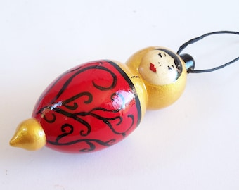 Wooden doll Red and gold doll  golden lady doll OOAK hand painted