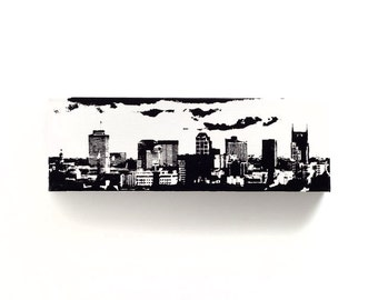 Nashville Skyline Canvas (12 x 4 inches, White with Black) Cityscape Screen Print & Painting Home Decor, Music City Gift