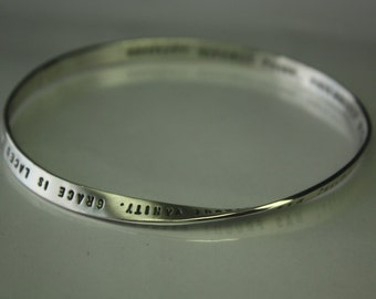 Mobius PERSONALIZED (up to 100 characters) Science meets art. 5mm x 1.25mm solid sterling silver strip made to order. Handmade jewelry bench
