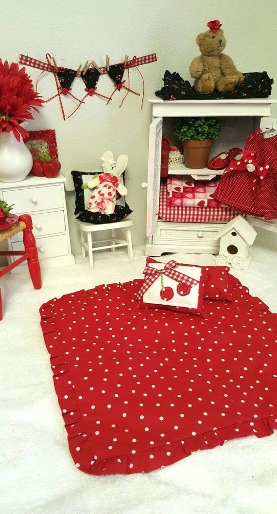Doll cherry Red Blanket With Two Pillows,  Original Cherry/Polka Dot Fabric
