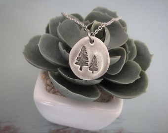 Hand Stamped Evergreen Trees Necklace