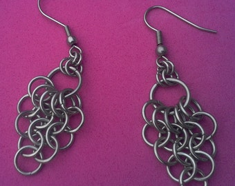 Funky stainless steel chainmaille 'bunch of grapes' earrings.  Surgical steel ear wires.  Gift pouch.