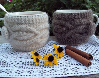 Coffee Cozy, Knit Cup Cozy, Coffee / Tea Cup Cozy, Coffee Mug Cozy, Cable Knitted Coffee warmer, Knit Cup Coffee Cozy, Knit Mug Cozy.