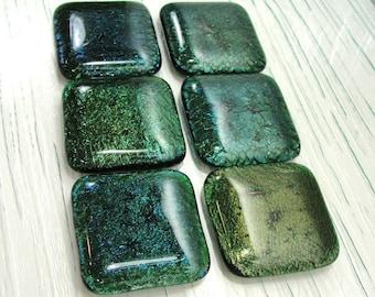 Iridescent Green Fused Glass Cabinet Knobs, Dark Green Drawer Knobs, Closet  Door Knobs,