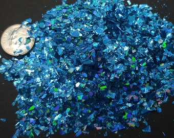 Teal Blue Holographic Flakes Solvent Resistant Large Flakies Glitter Shreds