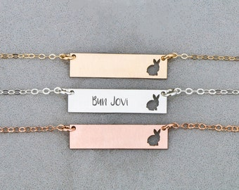 Bunny Necklace • Cute Rabbit Necklace Bar Jewelry • Loss Bunny Show • Rabbit Charm Cute Bunny Pet Gift • Bunny Personalized Rabbit