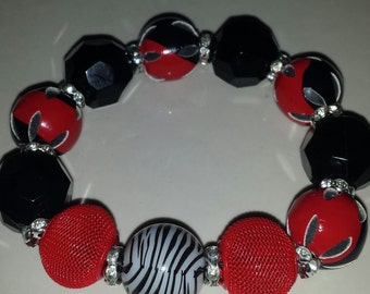 Red and Black chunky bracelet