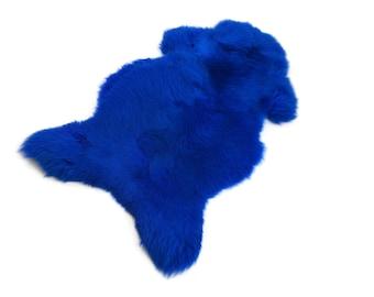 SHEEPSKIN Blue Genuine leather Sheep Skin Decorative rug comfy, cozy,