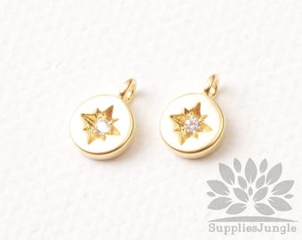 P947-01-MG// Matt Gold Plated 5.5mm Round Star Cubic Pointed Pendant, 2pcs
