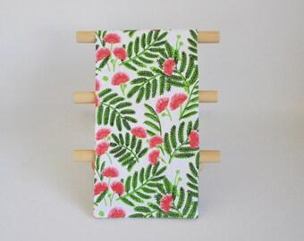 Tea Towel, Multi-Use Towel, Kitchen Bath Gym, Mimosa Floral Print Cotton Screen Printed Towel, Blacktop