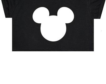 Mouse Ears Crop Top T Shirt Tee Womens Girl Funny Fun Tumblr Hipster Swag Grunge Kale Goth Punk New Retro Vtg Fashion Indie Boho Cute Bd