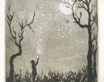 """fireflies"" original etching / fireflies/printmaking/ething/engraving/etching original etching/engraving/print/Landscape art /Gravure"