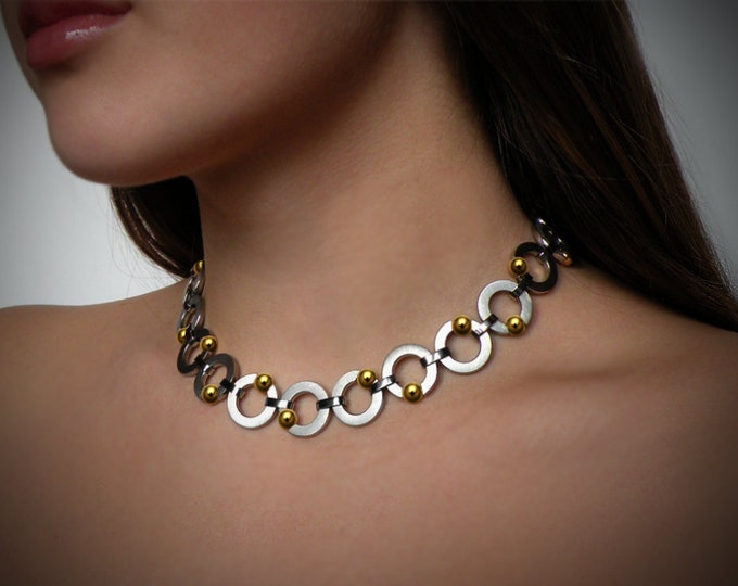 Round Link Necklace with Tension Set Gold Spheres in Stainless Steel