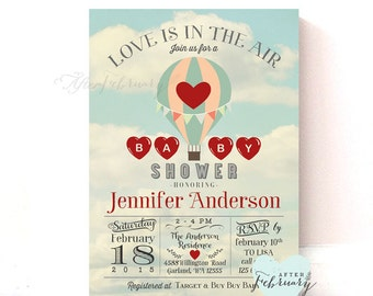 Valentine Baby Shower Invitation - Up Up and Away - Hot Air Balloon - Love is in the Air - Printable OR Printed No.818BABY
