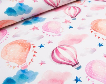 Fabric Jersey pink balloons in the clouds | Per Metre