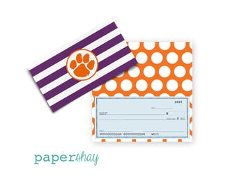 Checkbook Cover,  Custom Checkbook Cover, Vinyl Checkbook Cover, Clemson University, Collegiate, College Checkbook