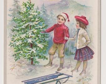 Antique Stecher Postcard, Boy and Girl With Sled, Winter Wonderland, A Happy Christmas Postcard, Ephemera