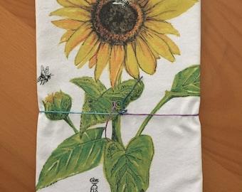 Beautiful Botanical Sunflower Tea Towel
