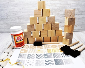 Wooden Blocks. Christening set. For Baby Shower Crafts; Craft Party; Childrens Blocks; Nursery Décor; Baby Décor; Baby Shower Gift; New Baby