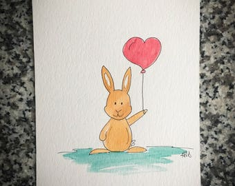 Bunny Valentine with a Heart Balloon