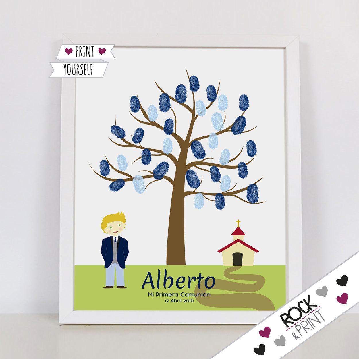 comunión niño árbol huellas / pdf / regalo cuadro alternativa