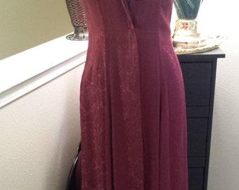Vintage 70's 80's Rayon BoHo Full length  Burgundy Duster Dress Jody of Calif -Party dress Duster Dress-Wine Duster