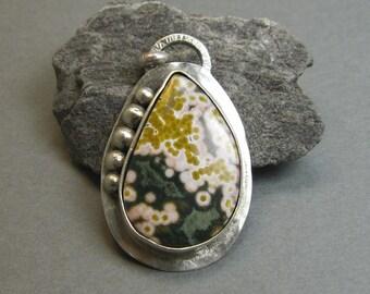 OOAK Ocean Jasper Pendant with Sterling Silver bezel, Artisan Handmade Pendant Necklace