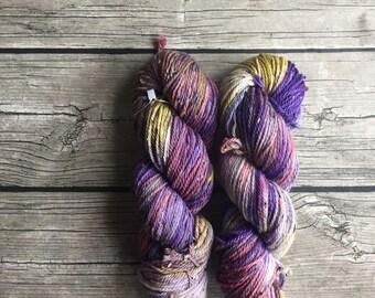 Flower Gleam and Glow - Hand Dyed Superwash Merino Tweed Yarn - Worsted / Aran Weight Yarn - Hand Dyed Yarn
