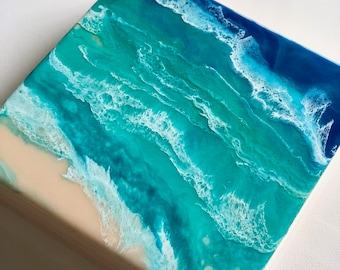 Ocean Resin Ink Painting on Wood Panel ON HOLD