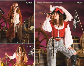 Simplicity 3677 Pirate Woman Costume Sewing Pattern, Size HH 6-12