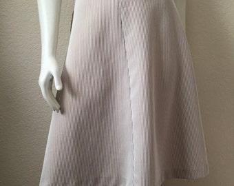 Vintage Women's 70's A Line Skirt, Tan, White, Striped, Polyester (M)