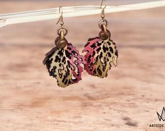 Boucles d'oreilles vertes et framboises Lélia