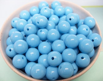 50x Turquoise Blue Solid Colour Resin Globe Round Beads 12mm