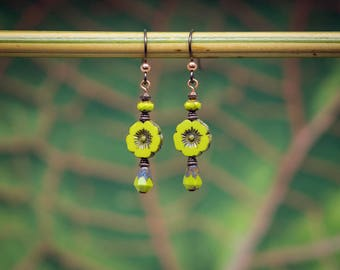 Chartreuse lover's earrings, hibiscus flower earrings,  lime teardrop earrings, green earrings, niobium ear wire earrings, tropical earrings