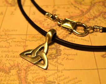 Free Shipping, Leather Necklace, Celtic Knots Triquetra, Mens Necklace, Mens Jewelry, Mens Gift, Pendant, Distresed Cord