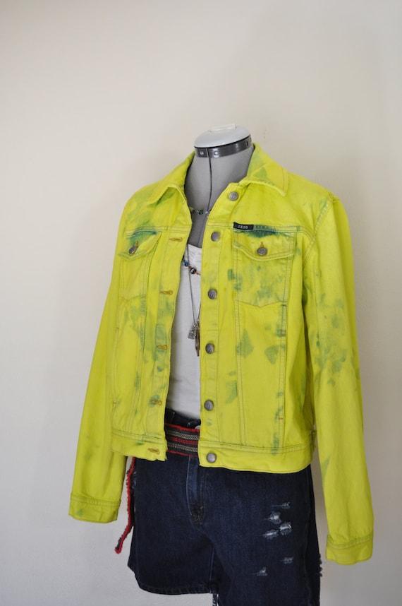 "f2d93fa0a7c Chartreuse Medium Denim JACKET – Lime Green Dyed Upcycled Izod Denim  Trucker Jacket – Adult Womens Size Medium (40 "" chest)"