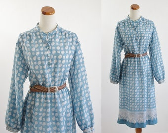 Vintage Shirtdress, 80s Blue Dress, Paisley Dress, Long Sleeve Dress, 1980s Dress, Boho Dress, Bust 38 Medium Large