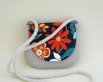 Crossbody bag with a flower motif, shoulder bag, teens bag, purse