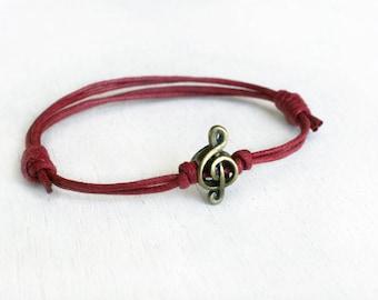Music Note Bracelet, Music Note Anklet, Music Bracelet, Music Anklet (many colors to choose)