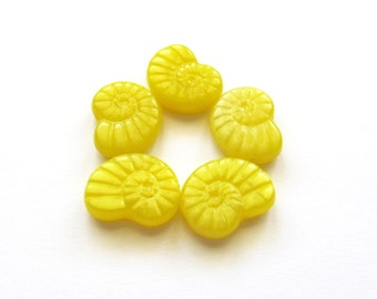 Opaque Sunny Yellow Nautilus Shell Czech Glass Beads, 17mm - 5 pieces