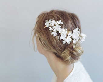 Bridal clay flower headpiece - Cherry blossom burst headpiece - Style 776 - Made to Order