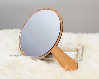 Hand Mirror - Wooden Hand Mirror - Wedding Gift - Stylized Hand Mirror - Acrylic Mirror - Acrylic Hand Mirror - Handheld Mirror - Vintage